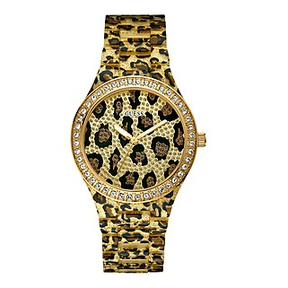 Guess Women's Leopard Animal Print Watch With Crystals
