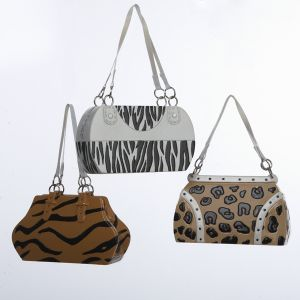 Fashion Animal Print Handbag Purse Christmas Ornaments