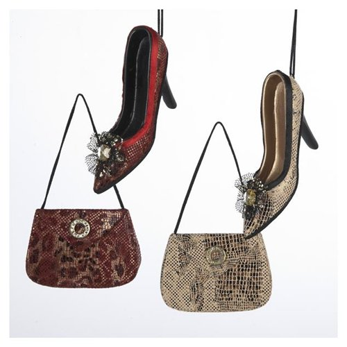 Leopard and Snakeskin Shoe and Purse Christmas Ornaments 4