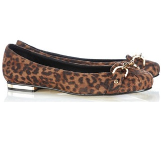 Leopard Print Gold Chain Flat Shoes