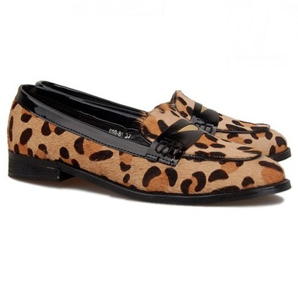 Leopard Print Round Toe Flats with Notched Detail