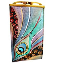 Anuschka Double Eyeglass Case Dancing Peacock Leather Case