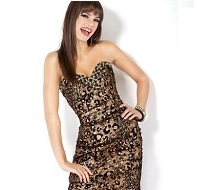 Jovani Leopard Print Short Sequined Cocktail Dress