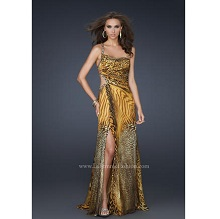La Femme Animal Print One Shoulder Prom Dress