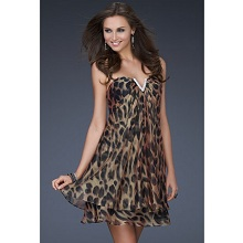 La Femme Leopard Print Short Party Dress