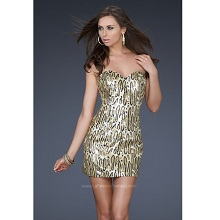 La Femme Ocelot Animal Print Short Sequined Cocktail Dress