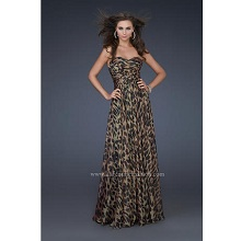La Femme Strapless Leopard Animal Print Prom Dress
