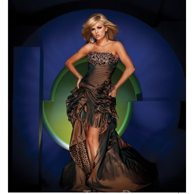 Tony Bowls Leopard/Brown Taffeta Long Evening Dress