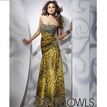 Tony Bowls Strapless Leopard Print Evening Gown