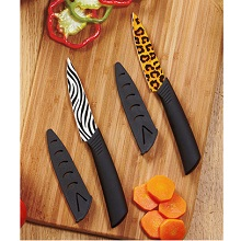 Zebra and Leopard Animal Print Ceramic Knives