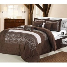 12-Piece Zebra Brown & White Bed In A Bag Set