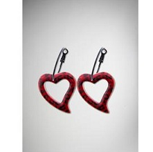 Red Leopard Heart Hoop Earrings
