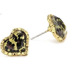 Betsey Johnson Crystal Leopard Heart Stud Earrings