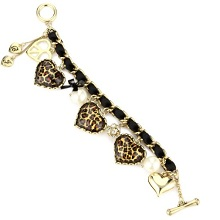 Betsey Johnson Crystal Leopard Heart Toggle Bracelet