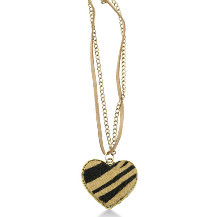 Camel and Black Zebra Print Heart Pendant