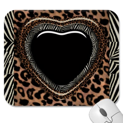 Leopard and Zebra Print Heart Mousepad