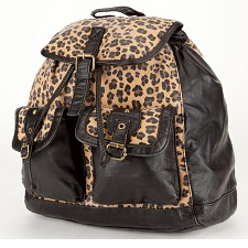 T-SHIRT & JEANS Canvas Leopard Backpack