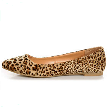 Cheetah Print Tan Pointed Flat Shoes