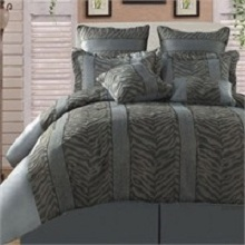 Zebra  and Leopard Silver Black 8 Piece Comforter Set