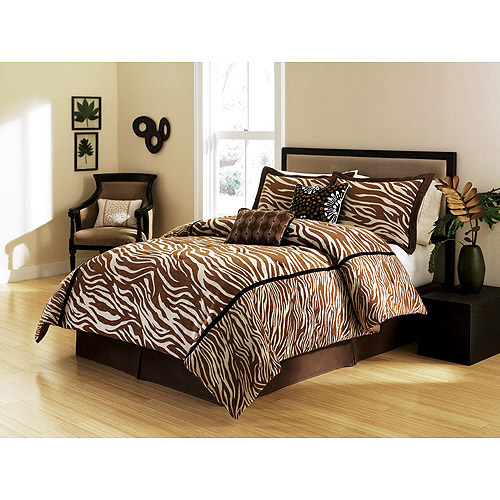 Hometrends Brown Zebra Print Comforter Set