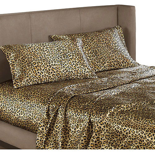 Leopard Animal Print Satin Bedding Sheet Set