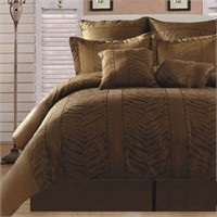 Tiger and Leopard Gold Black 8 Piece Comforter Set