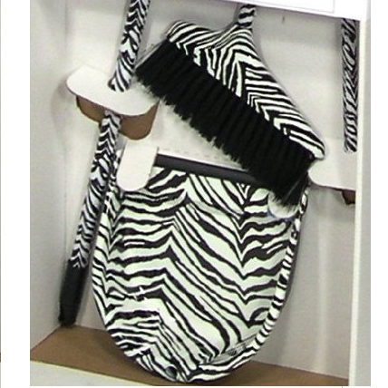 Designer Zebra Animal Print Broom and Dustpan Set