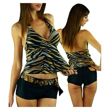 ToBeInStyle Two Piece Tankini Swimsuit Multi Zebra Animal Print