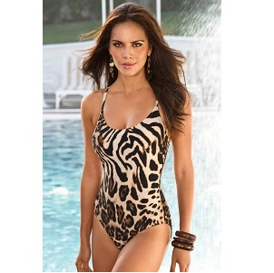 Animal Print Scoop-Neck Tank Maillot