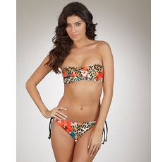 GUESS Leopard Floral Print Bandeau Bikini Top and Bottom