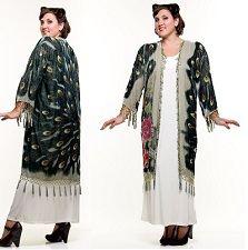 Art Deco Silk Velvet Peacock Fringe Scarf Coat