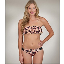 Hurley Leopard Raffled Top Bandeau Swimwear