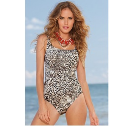 Snake Skin Animal Print One Piece Swimsuit