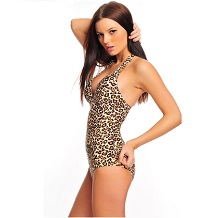 Women`s Leopard Print Push Up Two Pieces Tankini Swimsuit