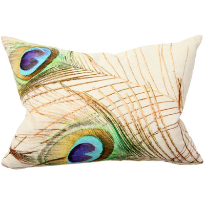 Peacock Feather Pair of Pillows