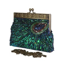 Peacock feathers Pattern beaded Sequin Evening Bag