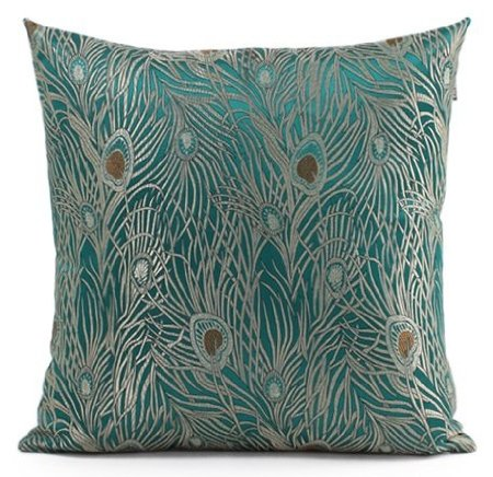 Sapphire Blue 18″x18″ Peacock Design – Elegant Decorative Throw Pillow Cover