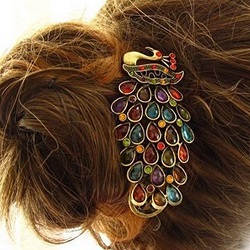Vintage Jewelry Crystal Peacock Hair Clip