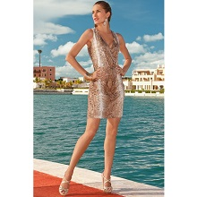 Snake Skin Print Sequin Dress