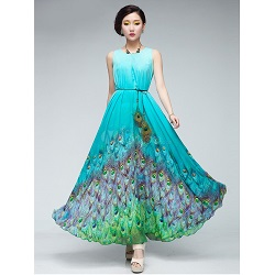 Peacock Feather Print Chiffon Jewel Neck Women's Maxi Dress
