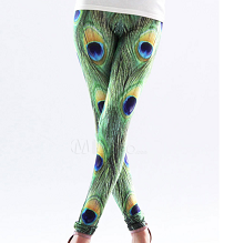 Women's Green Peacock Feather Legging