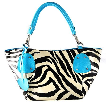 Fash Large Zebra Print Faux Leather Tote Handbag