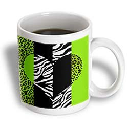 Janna Salak Designs – Lime Black and White Animal Print – Leopard and Zebra Heart – Mug