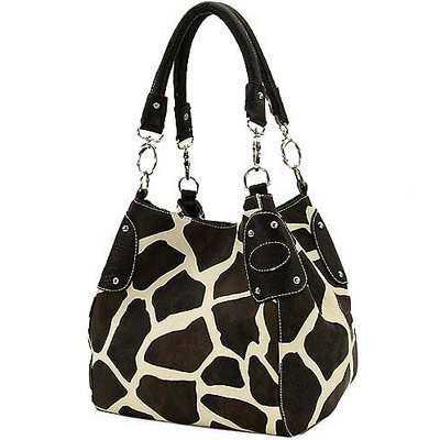 Black Large Giraffe Print Faux Leather Satchel Handbag