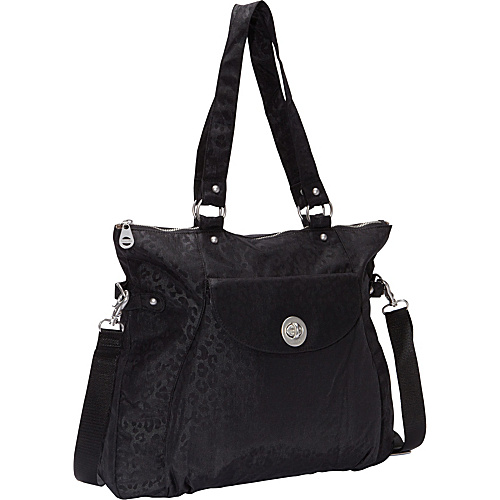 baggallini Black Cheetah Tone-on-Tone Tote Bag