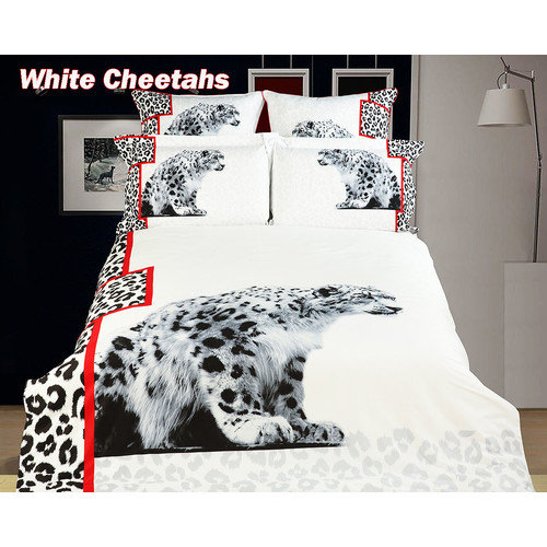 Dolce Mela White Cheetah Duvet Cover Set