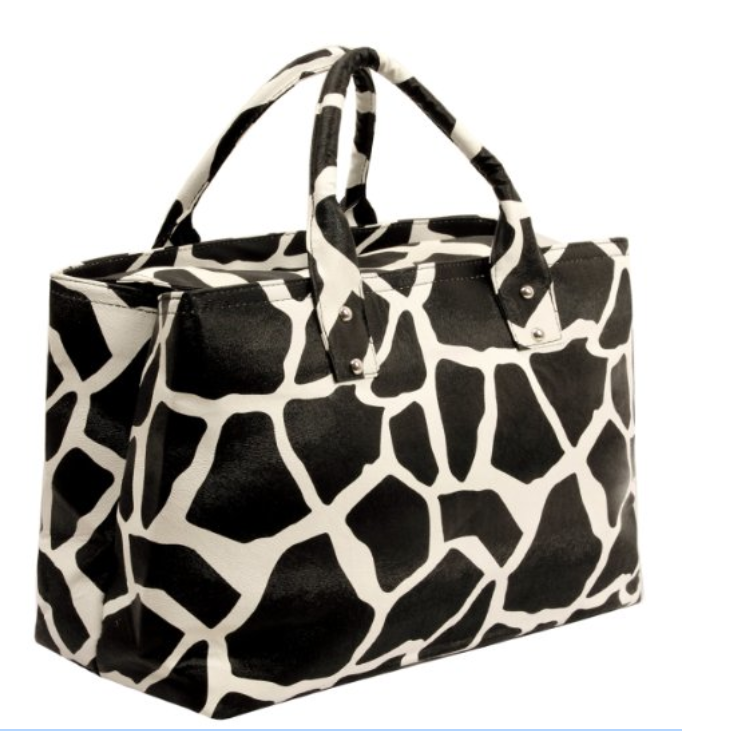 Giraffe Animal Print Top Double Handle Satchel Shopping Tote Hobo Bag