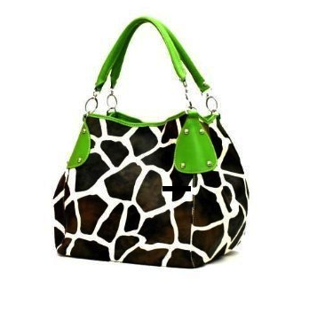 Giraffe Print Hobo Handbag with Double Handles