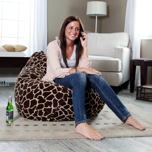 Large Giraffe Animal Print Suede Bean Bag
