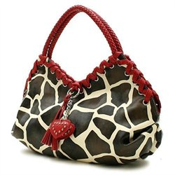 Giraffe Print Designer Inspired Dooney Burke Purse Heart Red